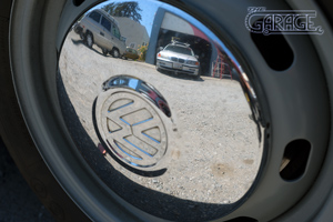 The Garage, Petaluma - VW Hub Cap Reflection